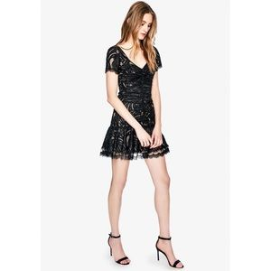 Jonathan Simkhai Black Metallic Lace Mini Dress